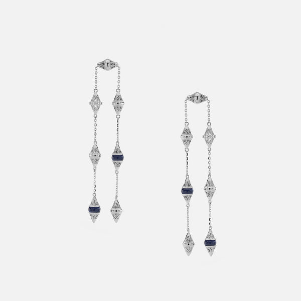 Al Merriyah mood colour earrings in 18k white gold with sapphire and diamonds