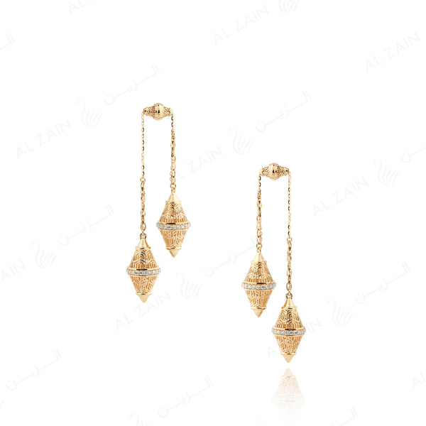 Polished Finish Al Merriyah Earrings in 18k Yellow gold with Diamonds - Al Zain Jewellery