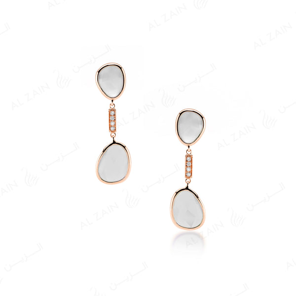 Simply Nina earrings in 18k rose gold with Mother of Pearl stones and diamonds