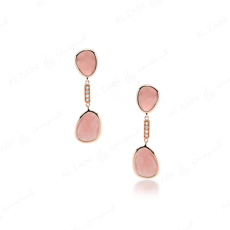 Simply Nina earrings in 18k rose gold with Opal stones and diamonds - Al Zain Jewellery