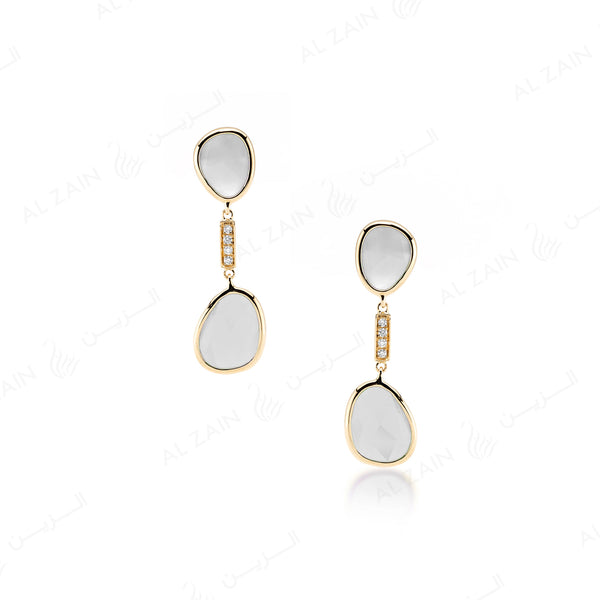 Simply Nina earrings in 18k yellow gold with Mother of Pearl stones and diamonds