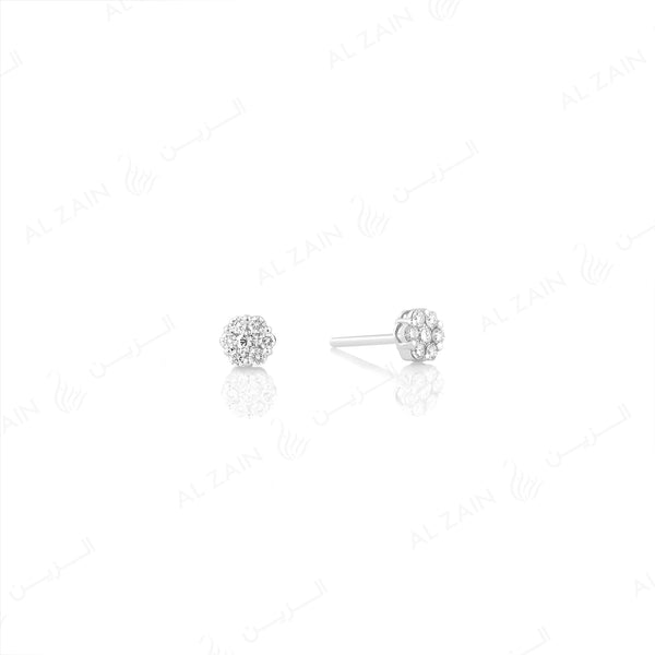 18k White gold stud earrings in round cut illusion set diamonds - Al Zain Jewellery