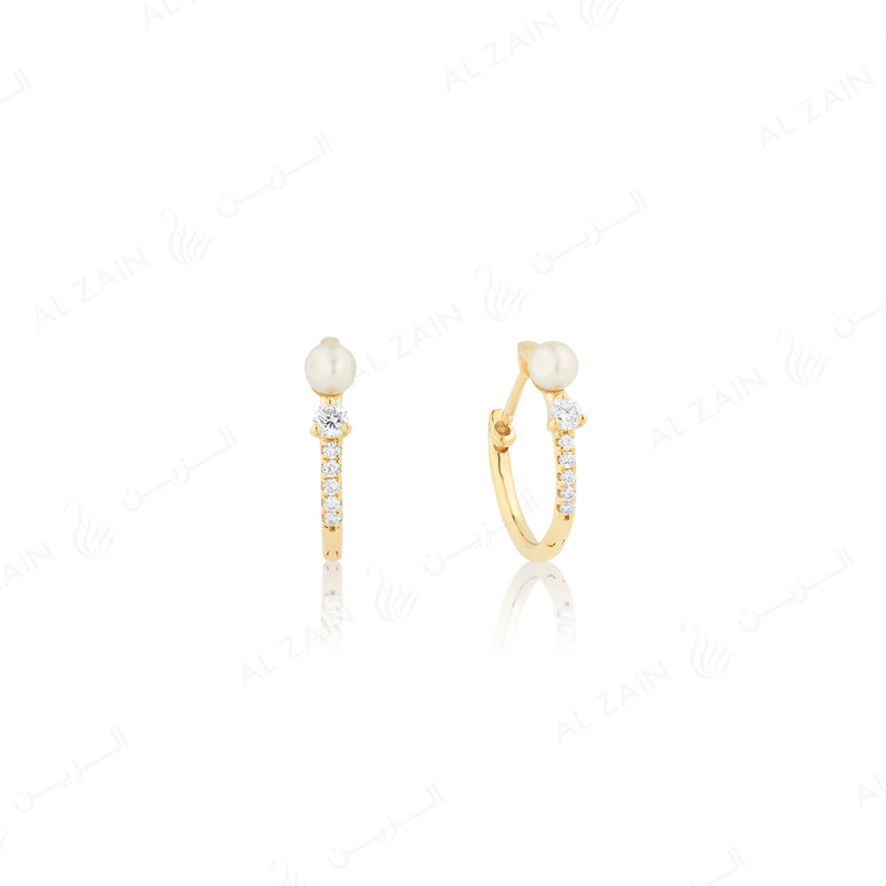 Mystique hoop earring with pearl and  diamonds in yellow gold - Al Zain Jewellery
