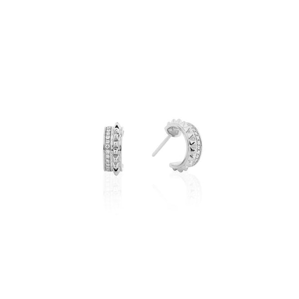 18k Hab El Hayl Evolution Earrings in White Gold with Diamonds - Al Zain Jewellery