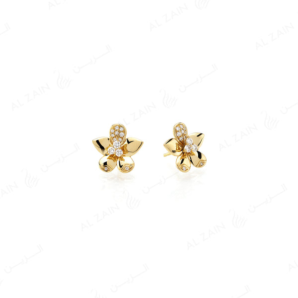 Blomme Earrings in Yellow Gold with Diamonds