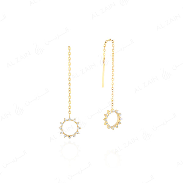 Melati hanging earrings in Yellow Gold with Diamonds