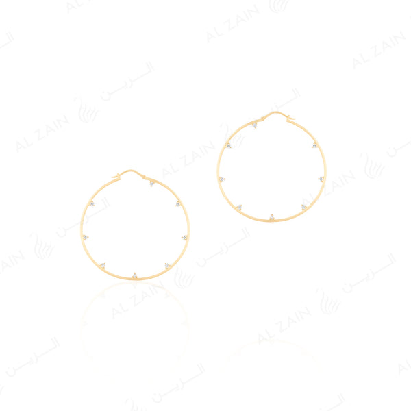 Melati hoop earrings in Yellow Gold with Diamonds