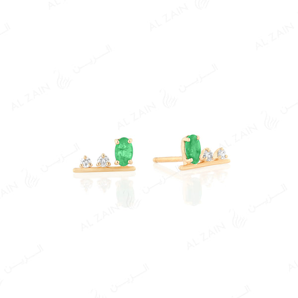 Mystique earrings in yellow gold with diamonds and emerald stone