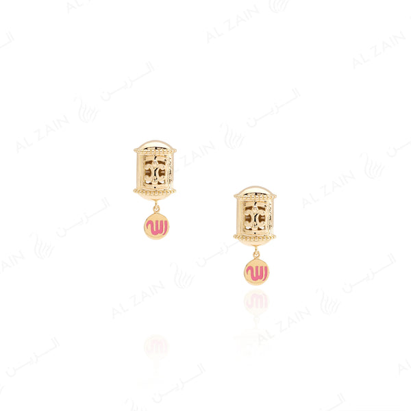 Kids Talisman Earrings in Yellow Gold & Pink Enamel - Al Zain Jewellery