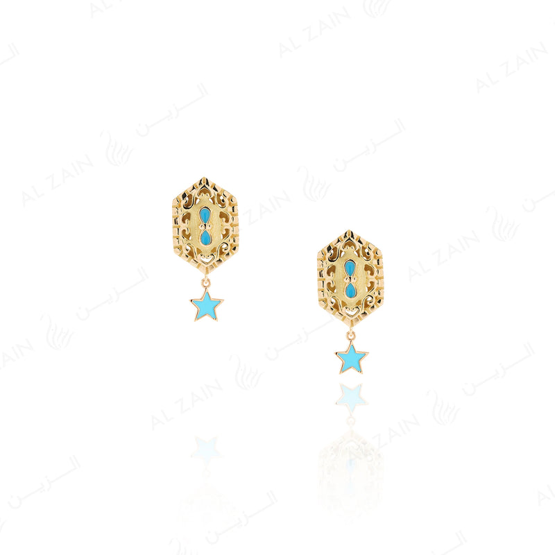 Kids Talisman Earrings in Yellow Gold & Blue Enamel - Al Zain Jewellery