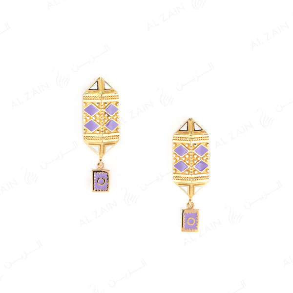 Kids Talisman Earrings in Yellow Gold & Violet Enamel - Al Zain Jewellery