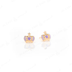 My Princess Earrings in Yellow Gold with Enamel