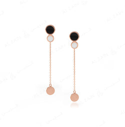 Rose Gold Dusk till Dawn Earrings with Enamel - Al Zain Jewellery