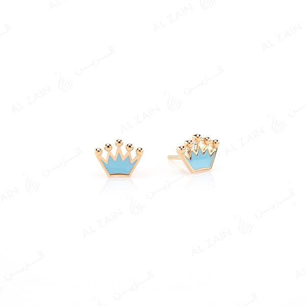 My Princess Earrings in Yellow Gold with Enamel - Al Zain Jewellery