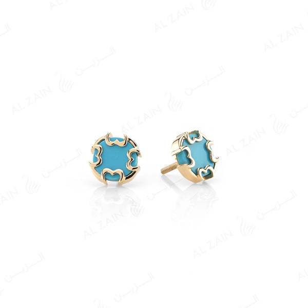 Cordoba Kids Earrings in Yellow Gold with Turquoise Stone - Al Zain Jewellery