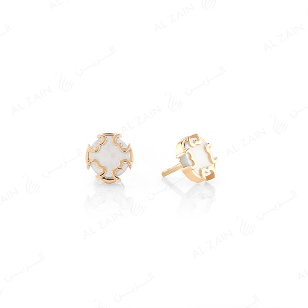 Cordoba Kids Earrings in Yellow Gold with Mother of Pearl Stone - Al Zain Jewellery