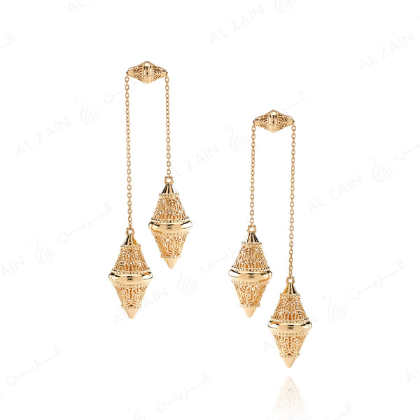 Al Merriyah yellow gold earrings in polished finish