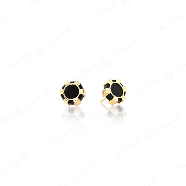 Cordoba earring in yellow gold with onyx stones - Al Zain Jewellery