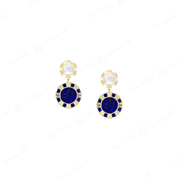 Cordoba earring in yellow gold with mother of pearl and lapis stones - Al Zain Jewellery