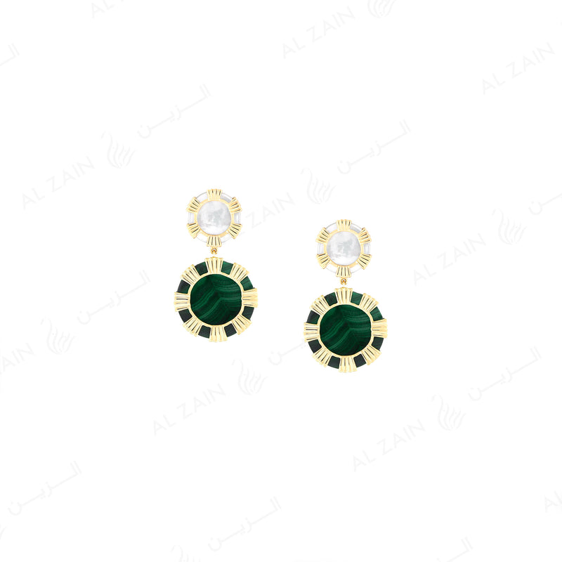 Cordoba earring in yellow gold with mother of pearl and malachite stones - Al Zain Jewellery
