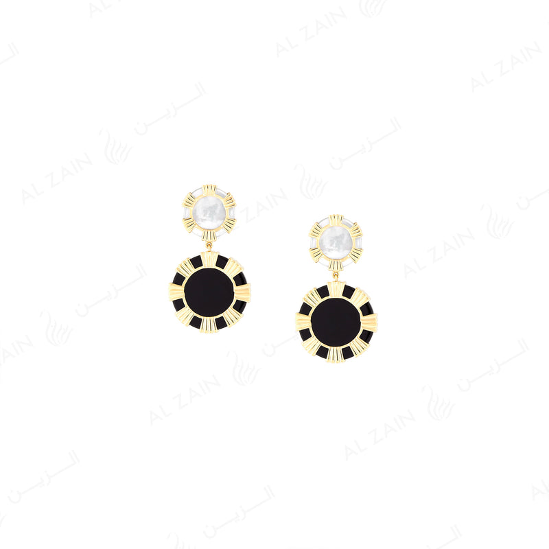 Cordoba earrings in yellow gold with mother of pearl and onyx stones