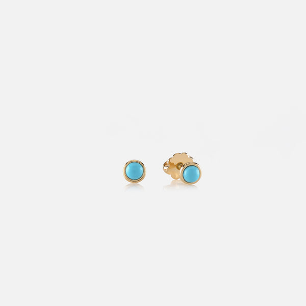 Kids Stud Earrings in Yellow Gold with turquoise beads - Al Zain Jewellery