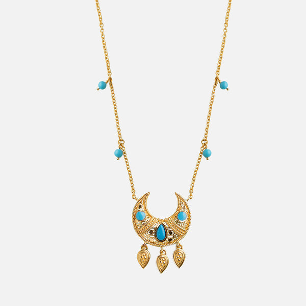 21k kids necklace with turquoise stones - Al Zain Jewellery