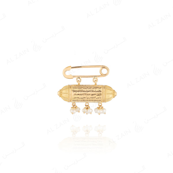 Kids Jamaa Brooch in Yellow Gold with hanging natural pearls
