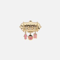 Kids Charms Brooch in Yellow Gold with Pink Enamel - Al Zain Jewellery