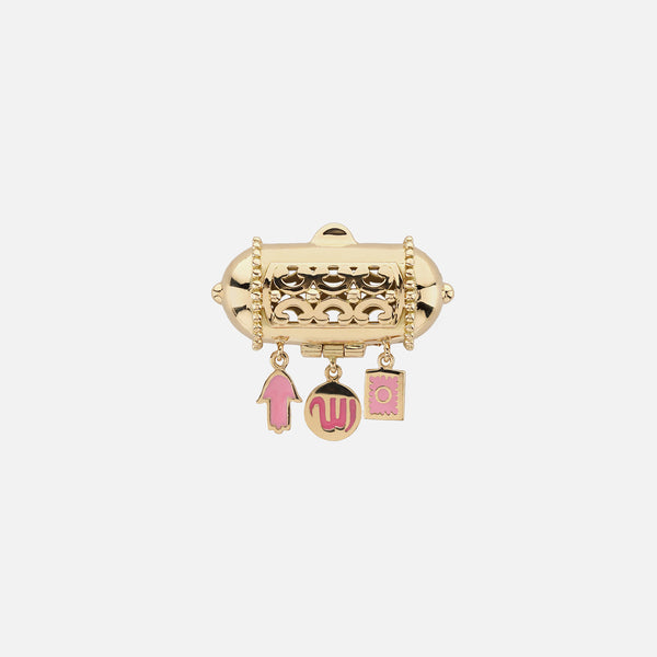Kids Charms Brooch in Yellow Gold with Pink Enamel
