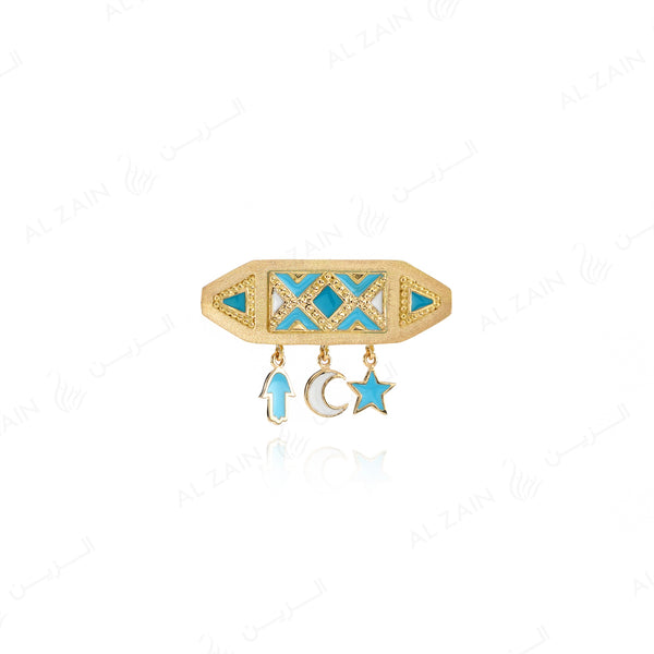 Kids Talisman Brooch in Yellow Gold with White and Blue Enamel - Al Zain Jewellery