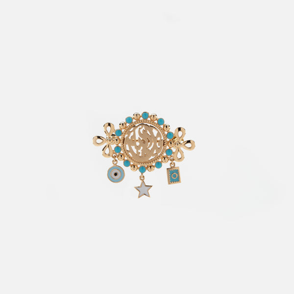 Kids Calligraphy Brooch in Yellow Gold with Blue Enamel - Al Zain Jewellery