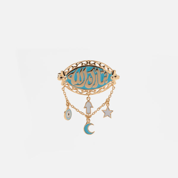 Kids Calligraphy Brooch in Yellow Gold with Enamel - Al Zain Jewellery
