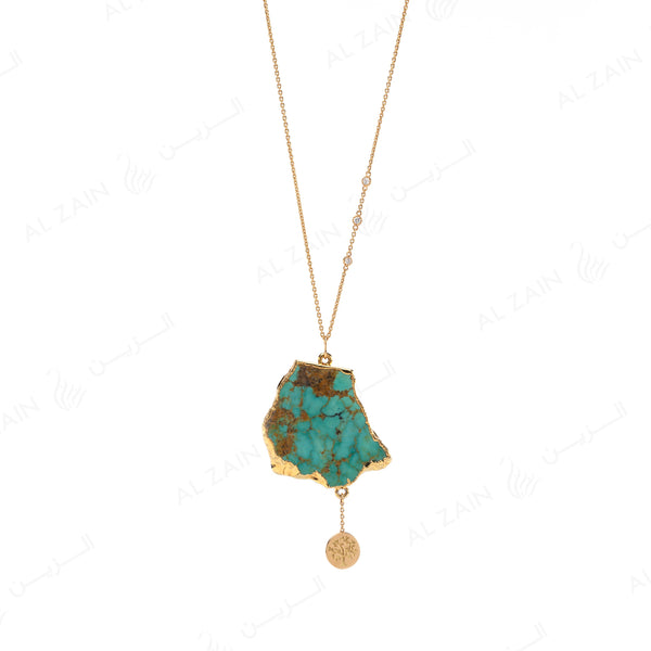 Melati Triangle Turquoise Necklace with Diamonds - Al Zain Jewellery
