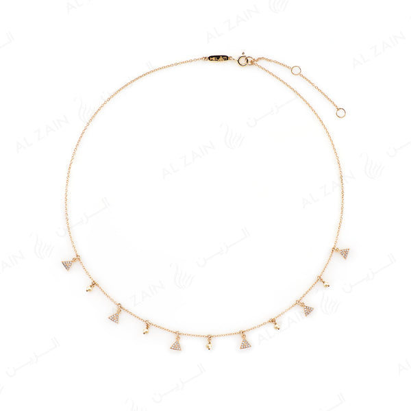 Melati Triangle Necklace in Yellow Gold with hanging pearls