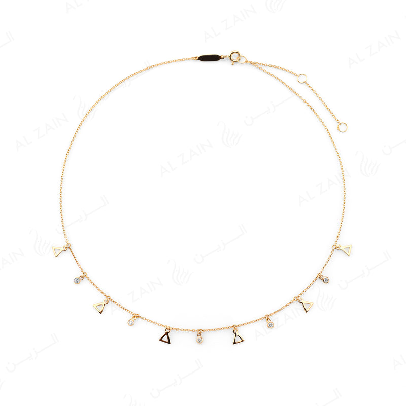 Melati Triangle Necklace in Yellow Gold with hanging diamonds