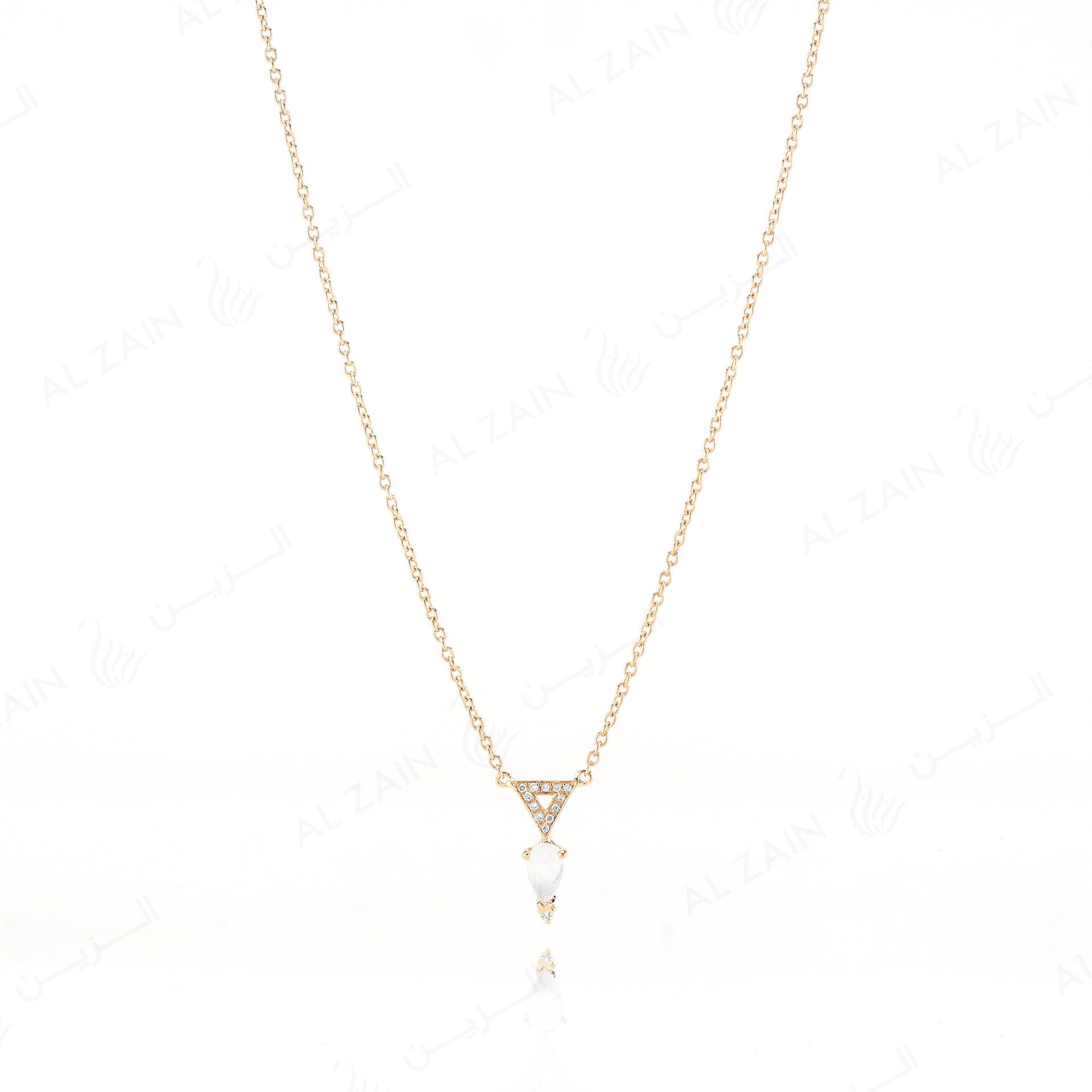 Melati triangle necklace in Yellow Gold with Moon Stone and Diamonds - Al Zain Jewellery