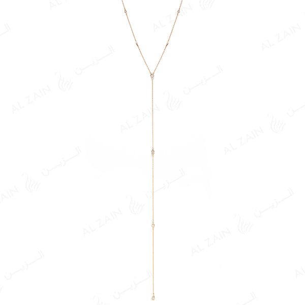 Nina Necklace in Yellow Gold with Diamonds - Al Zain Jewellery