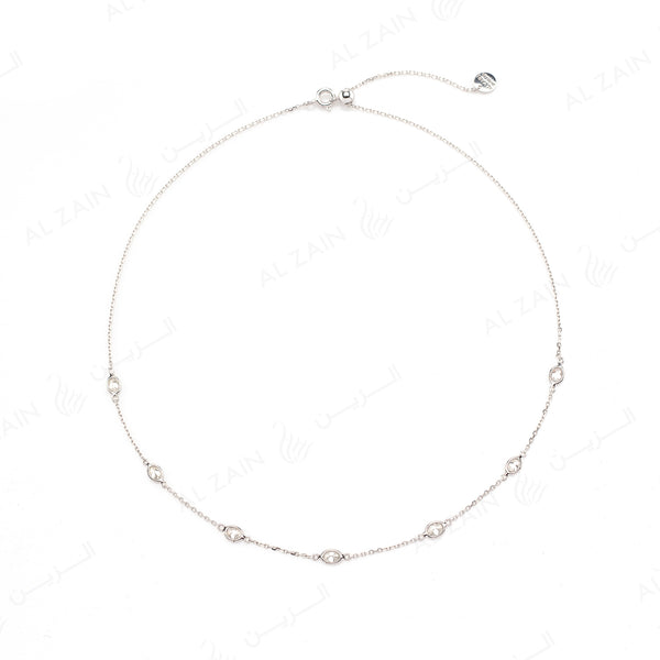 Nina Necklace in White Gold with Diamonds - Al Zain Jewellery