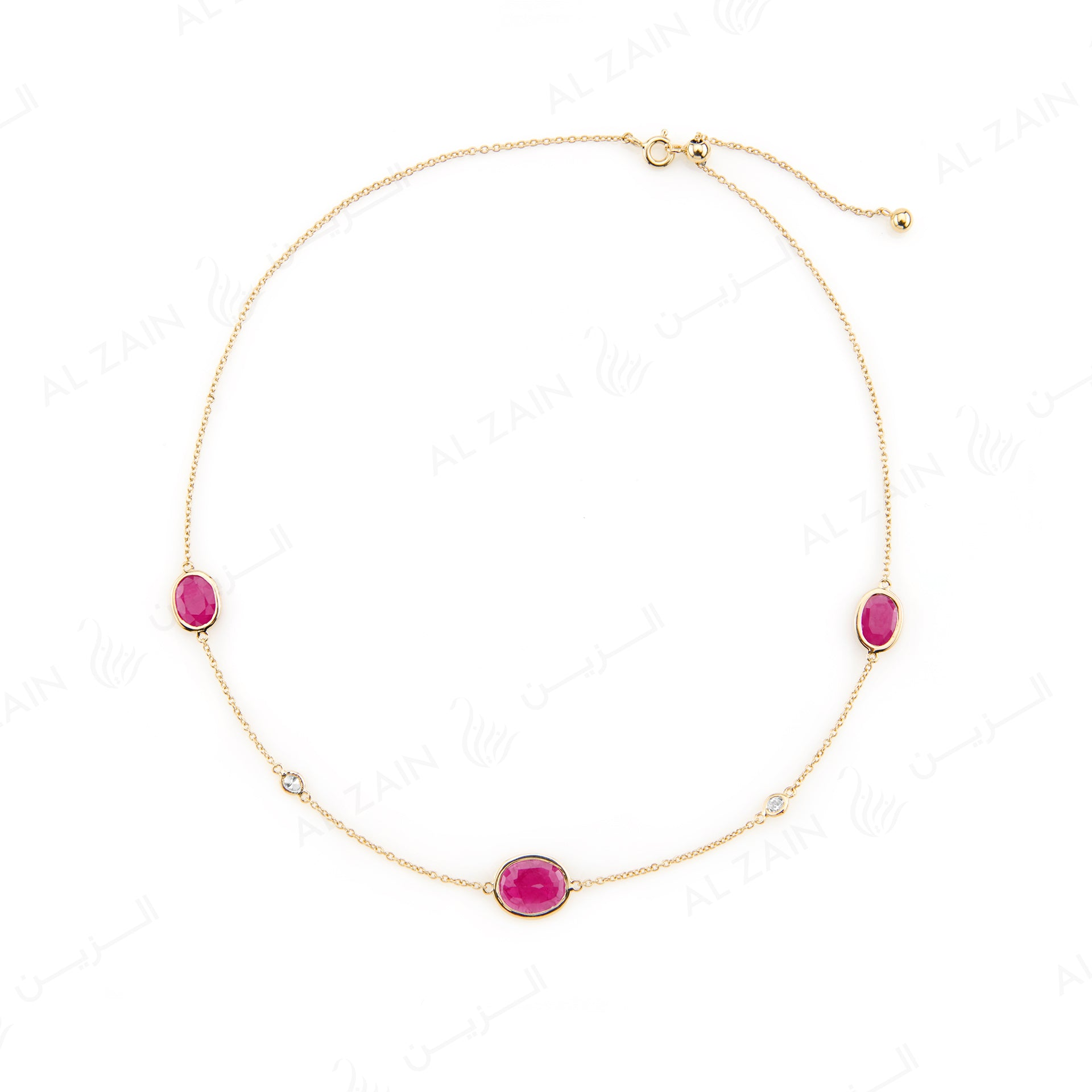 Nina Necklace in Yellow Gold with Ruby Stone - Al Zain Jewellery
