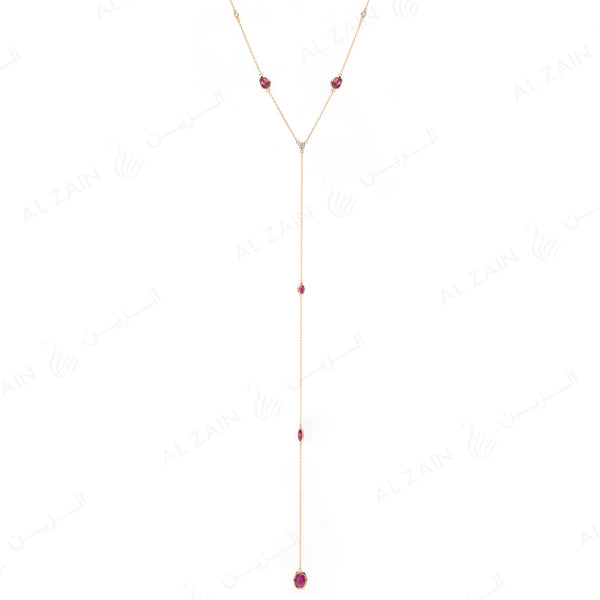 Nina Necklace in Yellow Gold with Ruby Stone