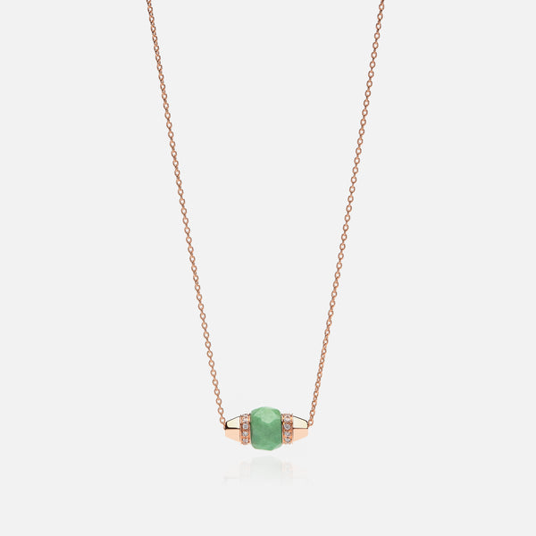 Ruby & Friends Necklace in Rose Gold with Jade & Diamonds