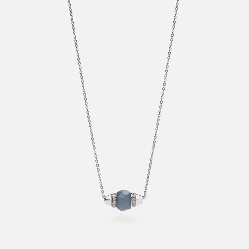 Ruby & Friends Necklace in White Gold with Angelite & Diamonds - Al Zain Jewellery