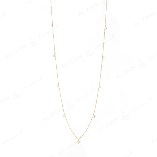 Natural Pearls Necklace in Yellow Gold - Al Zain Jewellery