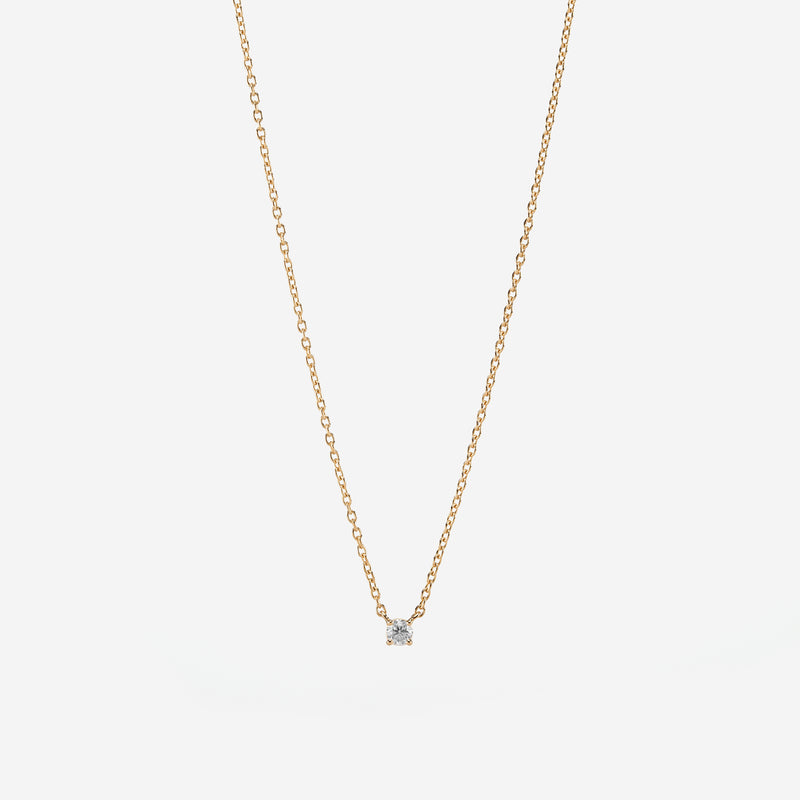 18k Solitaire Necklace in yellow Gold - Al Zain Jewellery
