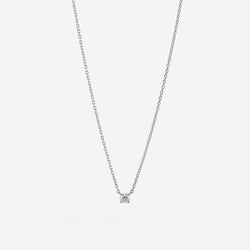 18k Solitaire Necklace in White Gold - Al Zain Jewellery
