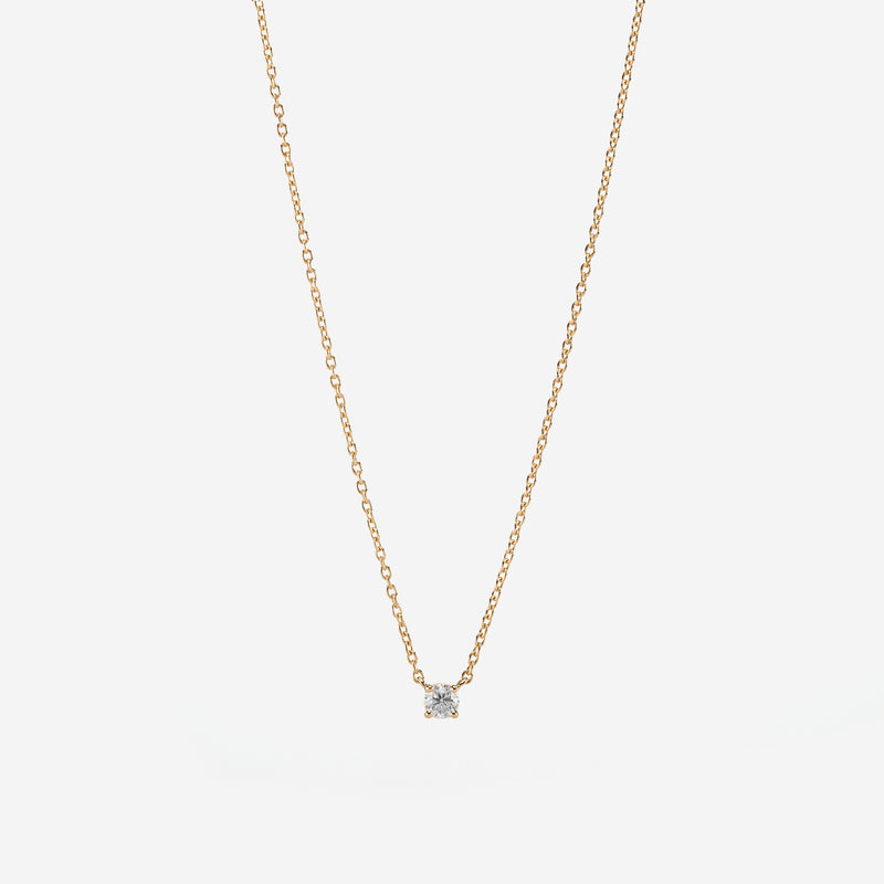 18k Solitaire Necklace in yellow Gold