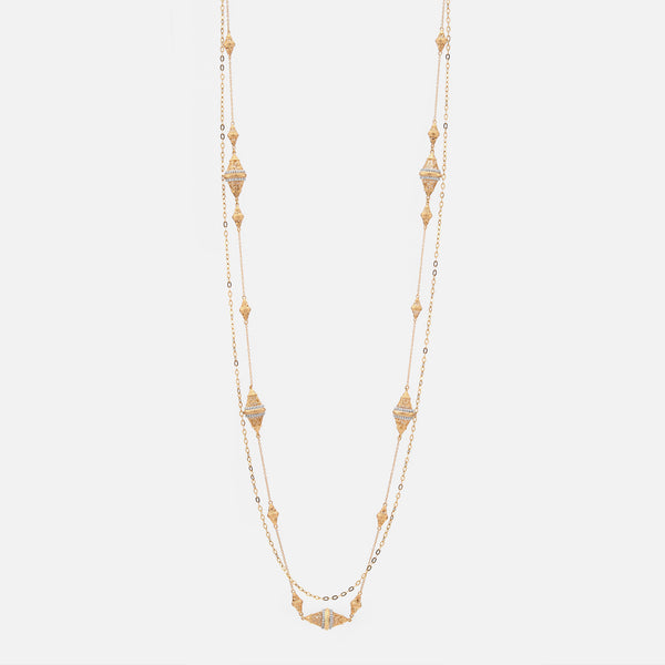 Al Merriyah Necklace in Yellow Gold with Diamonds - Al Zain Jewellery