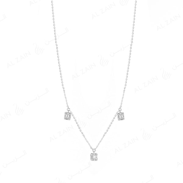 18k White gold pendant in emerald cut illusion set diamonds