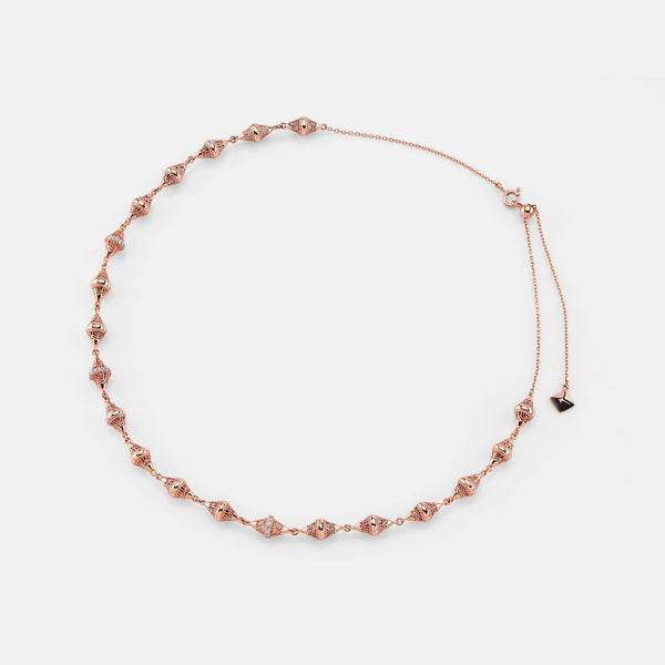Al Merriyah rosegold edition. 18k Polished finish choker with diamonds - Al Zain Jewellery